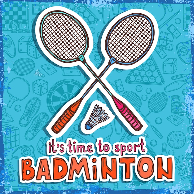 Badminton sketch. it's time to sport Free Vector