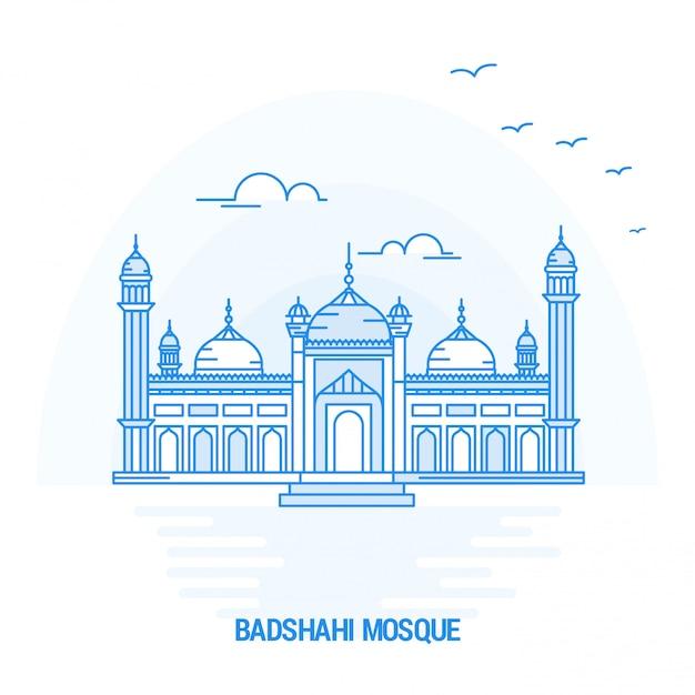 Badshahi mosque blue landmark Vector | Premium Download