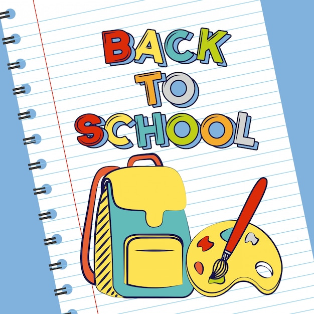 Bag, brush and palette, back to school supplies Free Vector