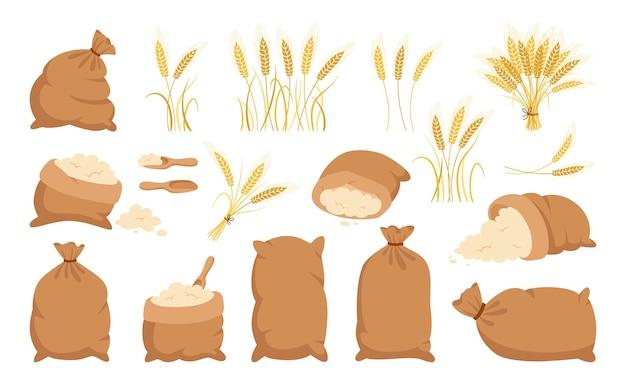 袋粉と小麦の穂、漫画セットヒープ粉、金粒小穂コレクション Premiumベクター