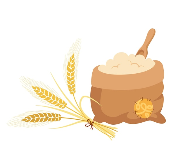 Bag of flour and bouquet of ears wheat, wooden scoop, cartoon composition heap flour Premium Vector