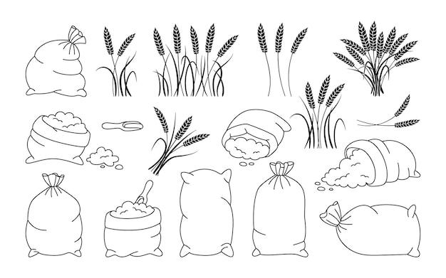 Bag flour and wheat ears, black line set heap flour, grain spikelets collection Premium Vector