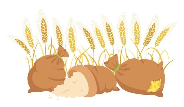 Bag flour and wheat ears, cartoon composition heap flour, gold grain spikelets harvest agricultural flour production Premium Vector