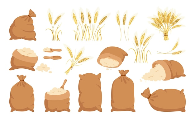 Bag flour and wheat ears, cartoon set heap flour, gold grain spikelets collection Premium Vector