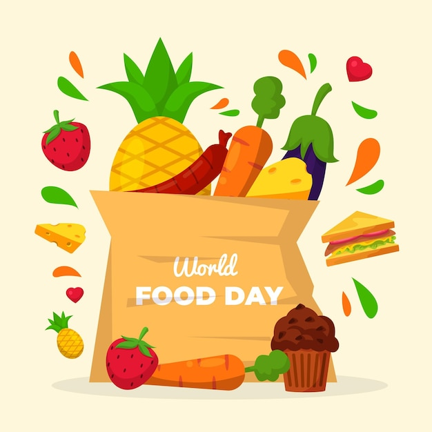 Bag of groceries world food day Free Vector
