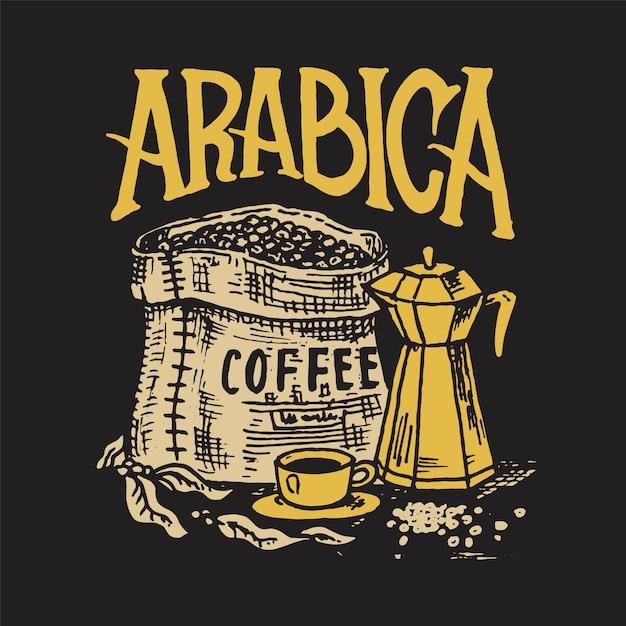 コーヒー豆の袋。ショップのロゴとエンブレム。カカオ粒、一杯の飲み物。ヴィンテージレトロなバッジ。 tシャツ、タイポグラフィ、看板のテンプレート。手描きの刻まれたスケッチ。 Premiumベクター