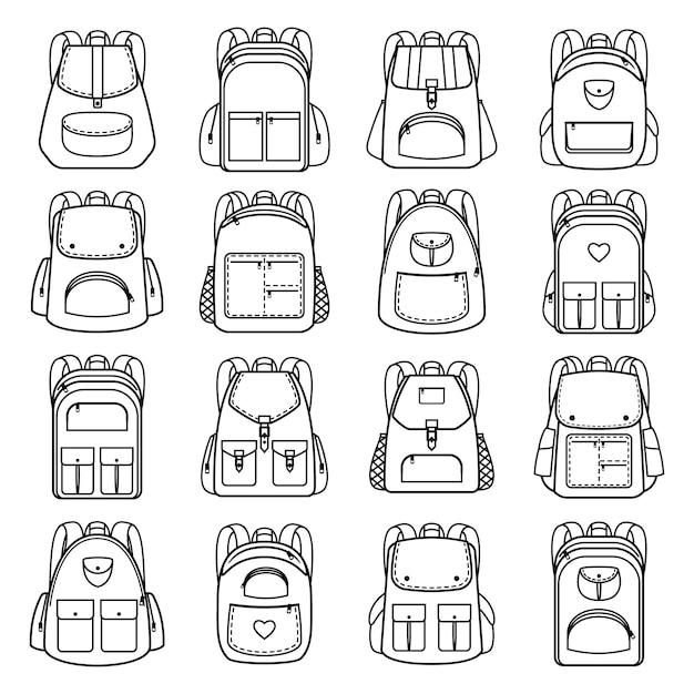 Bag pack linear icons. vector line backpacks for travel and hiking, students and school Premium Vector