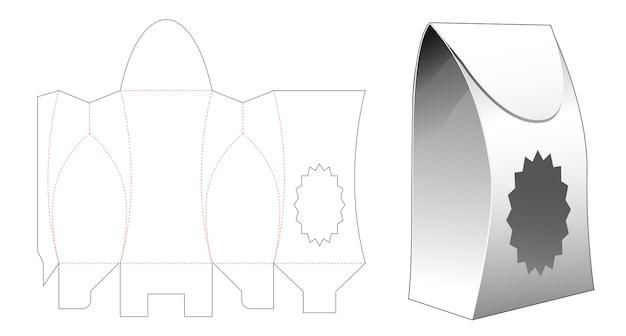 Bag packaging with multi-pointed star window die cut template Premium Vector