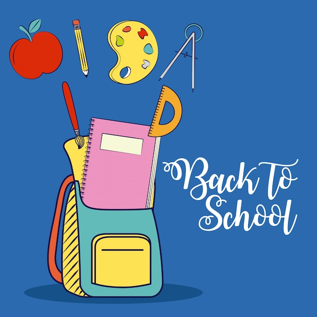 Bag and school elements, graphic resources related to back to school. illustration Free Vector