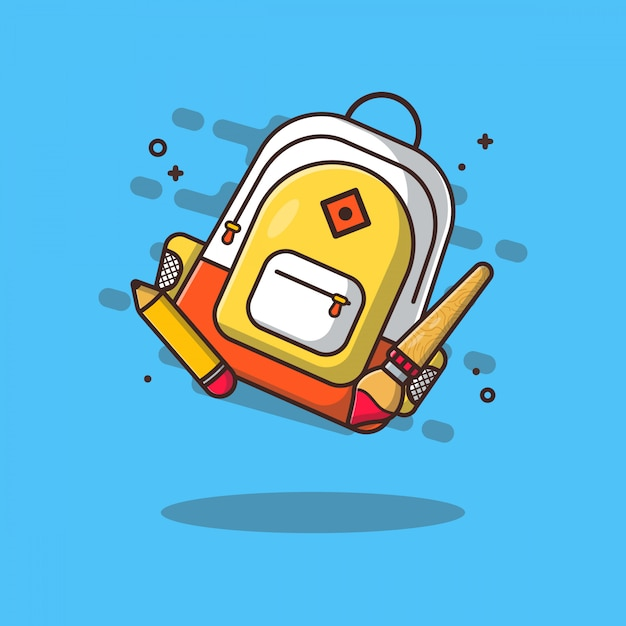 Bag and stationary icon illustrations. ducation icon concept white isolated. Premium Vector