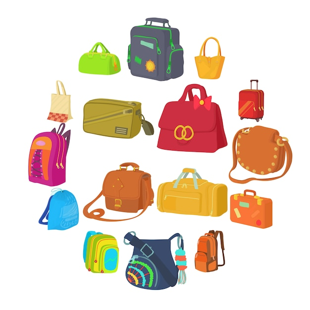 Bag types icons set, flat style Premium Vector