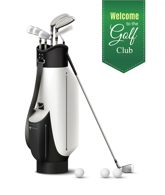 Bag of various golf clubs and balls realistic set  vector illustration Free Vector