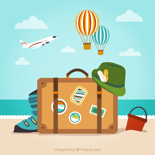 Baggage for vacation Free Vector
