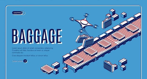 空港コンベア等尺性バナーの荷物 無料ベクター