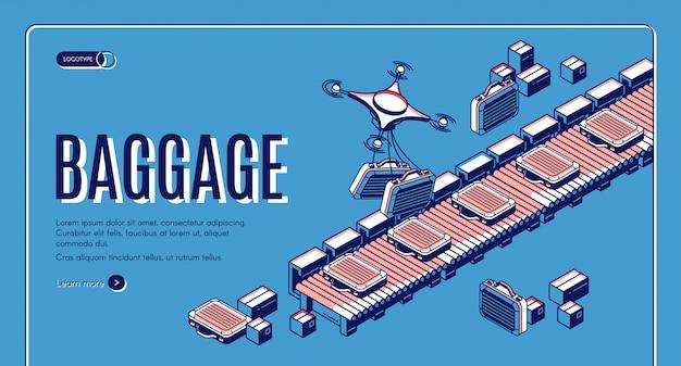 空港コンベア等尺性webランディングページまたはバナーテンプレートの荷物 無料ベクター