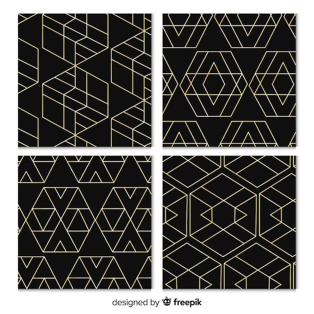 Baground with luxury pattern collection Free Vector