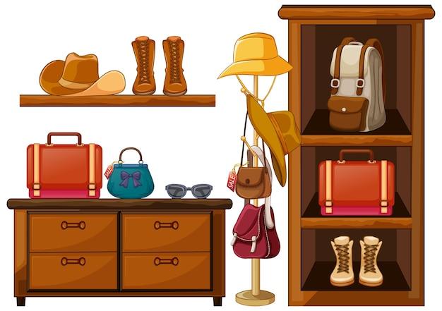 棚の上のバッグと履物の服のアクセサリー 無料ベクター