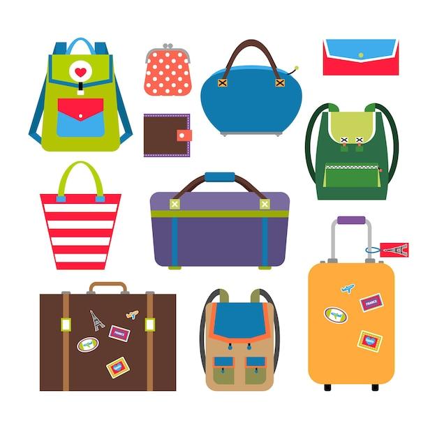 Набор сумок и багажа в плоском стиле. багаж и путешествия, портфель и чемодан. Бесплатные векторы