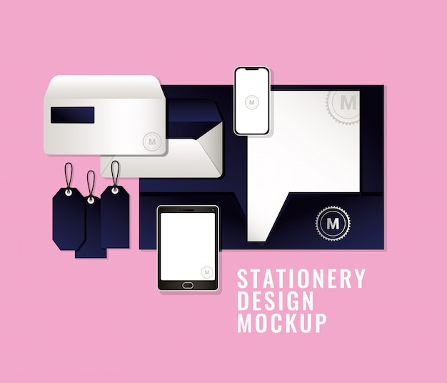 コーポレートアイデンティティとステーショナリーデザインをテーマにしたダークブルーのブランドが入ったバッグとマグのモックアップ Premiumベクター