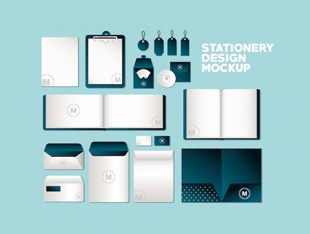 コーポレートアイデンティティとステーショナリーデザインをテーマにしたダークグリーンのブランドが入ったバッグとマグのモックアップ Premiumベクター