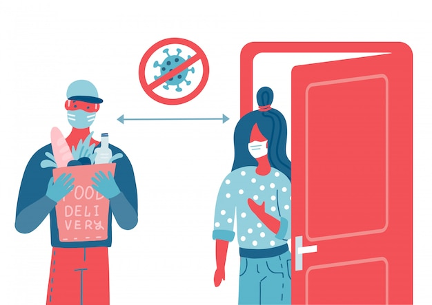 Bags safe delivery to the door. a courier with grocery or goods bags. people with white medical masks. concept of home delivery service while coronavirus pandemic.illustration Premium Vector