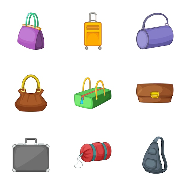 Bags and suitcases set, cartoon style Premium Vector