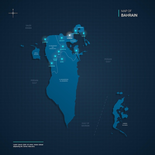 Bahrain map illustration with blue neon lightpoints - triangle on dark blue gradient. administrative divisions, cities, borders, capital. Premium Vector