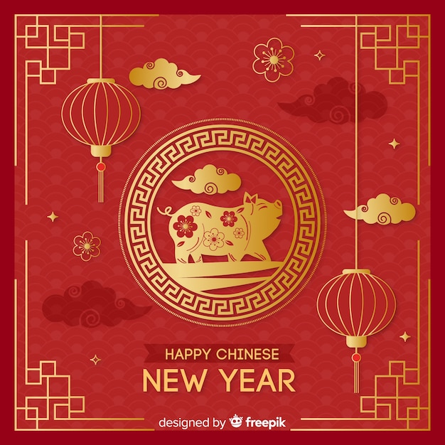 Золотой китайский новый год bakcground Бесплатные векторы
