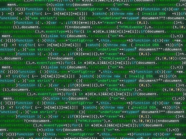 カラフルなbakcgroundをきらめくプログラムコード。 Premiumベクター