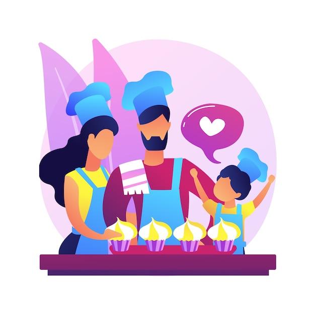 抽象的な概念のイラストを一緒に焼きます。検疫中の家族の楽しみ、留守番のアイデア、一緒に時間を過ごす、大人が子供と一緒に焼く。 無料ベクター