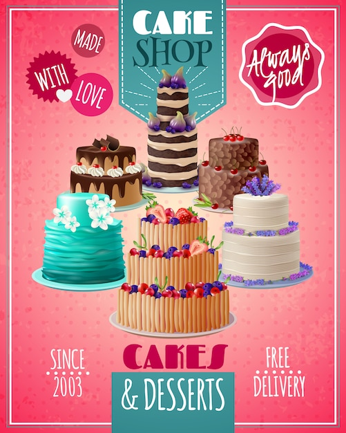 Baked cakes poster Free Vector