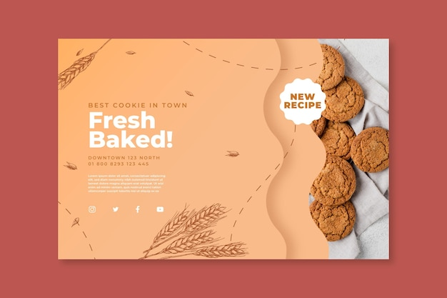 Шаблон баннера печенья с фото Premium векторы
