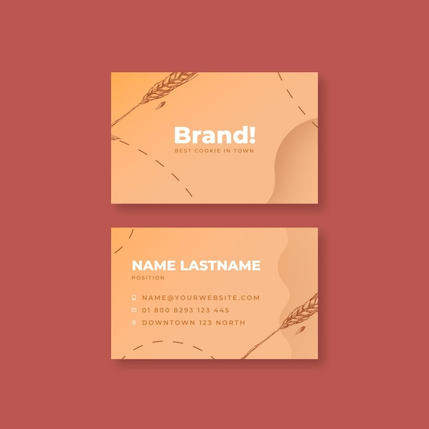 Baked cookies business card template Premium Vector