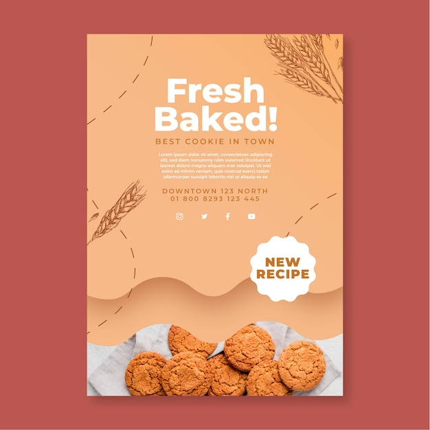 Baked cookies flyer template Free Vector