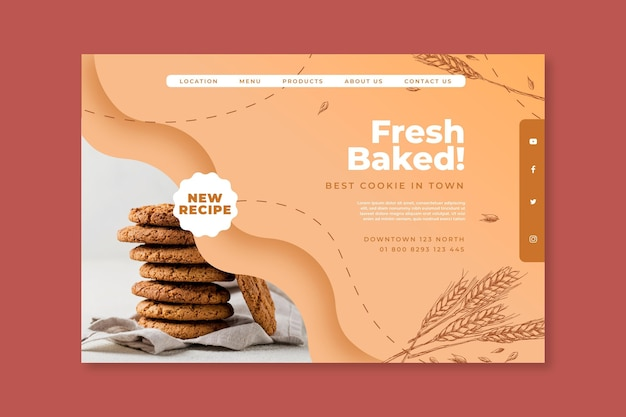 Baked cookies landing page template Free Vector