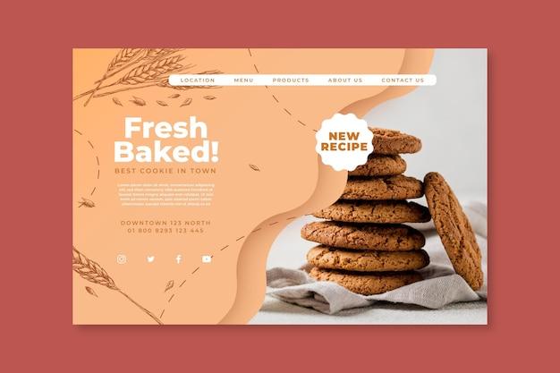 Целевая страница запеченных файлов cookie Premium векторы