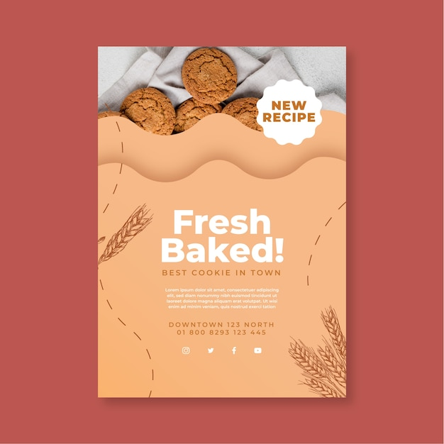 Baked cookies poster template Free Vector