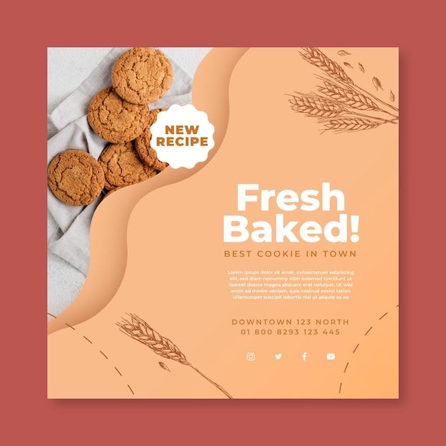 Baked cookies square flyer template Premium Vector