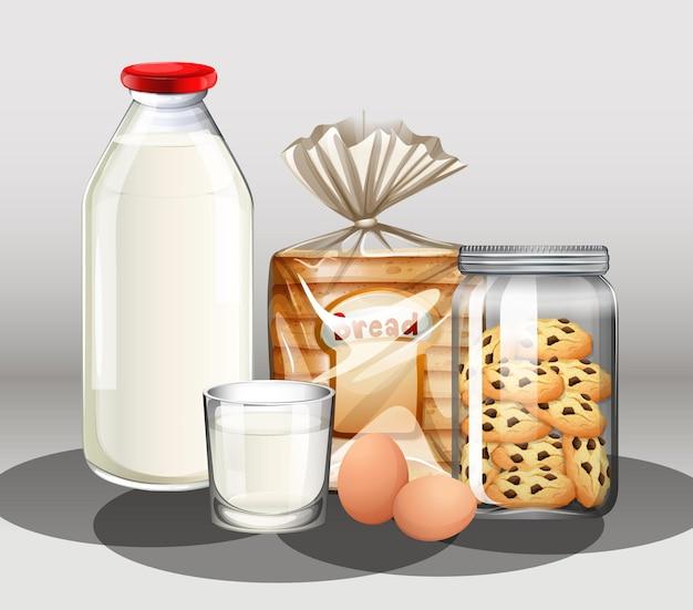 Выпечка с бутылкой молока и двумя яйцами в группе Бесплатные векторы