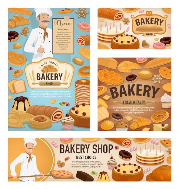 Baker baking bread, bakery shop dessert cakes Premium Vector