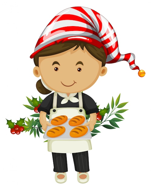 Baker and bread for christmas day Free Vector