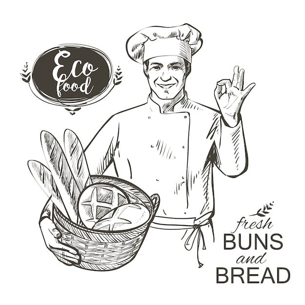 Baker carrying a basket with bread Premium Vector
