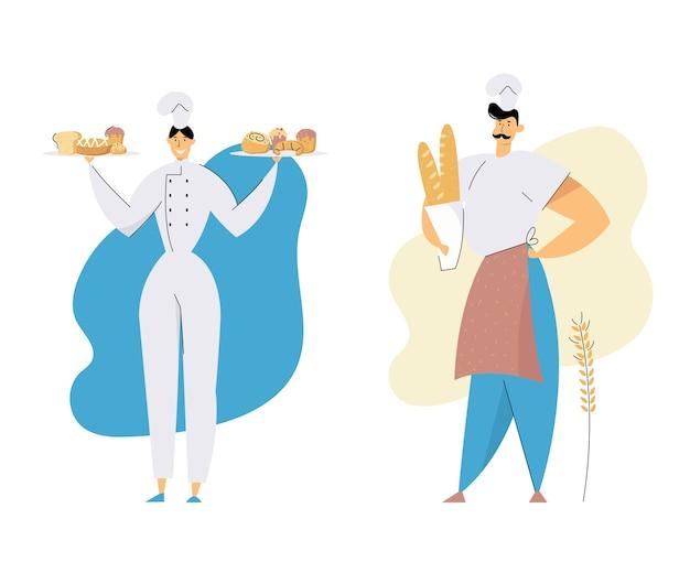 チーフトークと制服の保持トレイを身に着けているパン屋の男性と女性のキャラクター Premiumベクター