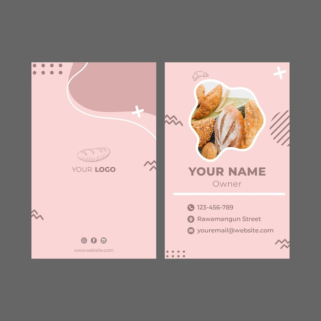 Bakery ad business card template Premium Vector