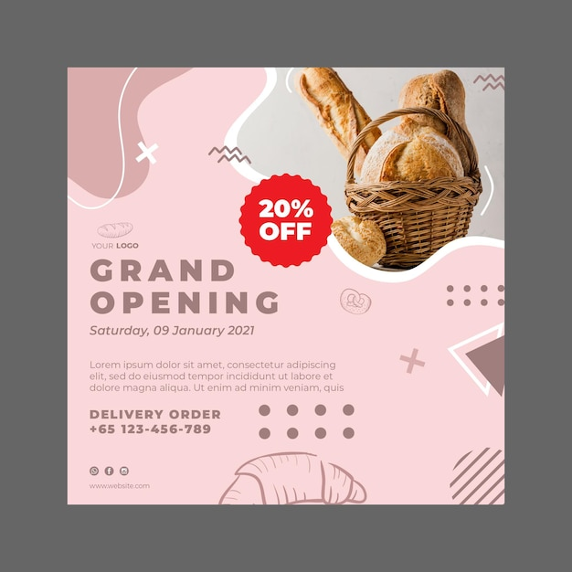 Bakery ad square flyer template Premium Vector