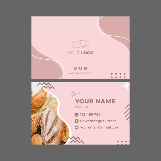 Bakery ad template business card Premium Vector