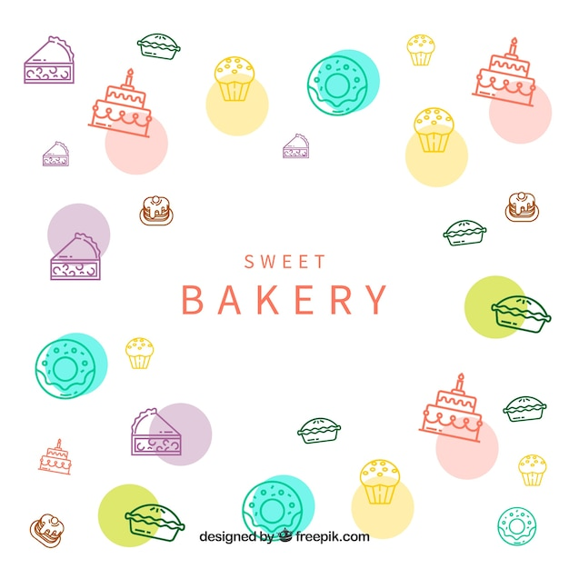 Bakery background with sweets Free Vector