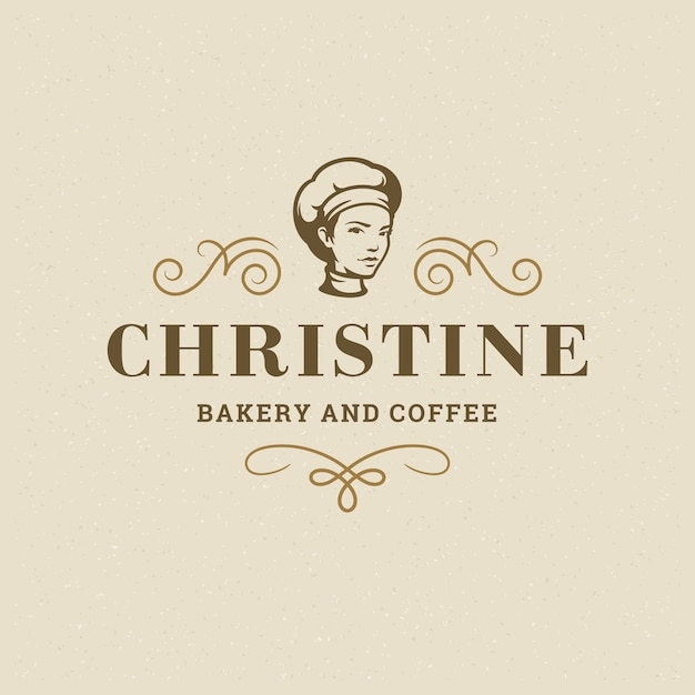Bakery badge or label retro  illustration baker women holding basket with bread silhouette for bakehouse. Premium Vector