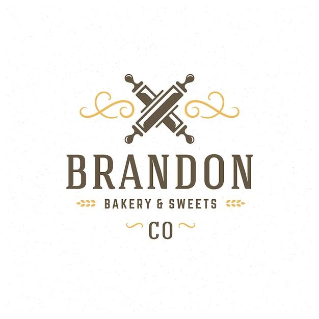 パン屋のバッジまたはラベルのレトロなイラスト麺棒シルエットのパン屋。 Premiumベクター