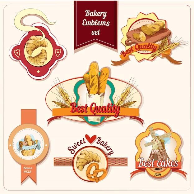 Bakery badge set Free Vector